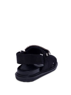 MARNI Crystals Fusbett Crystal-Embellished Quilted Crisscross Sandals