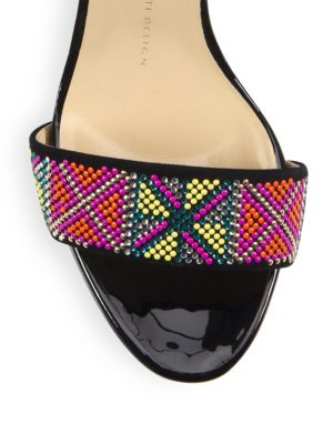 GIUSEPPE ZANOTTI Leathers Swarovski Crystal Accented Patent Leather Slingback Sandals