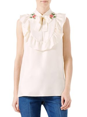 Embroidered Silk Twill Blouse by Gucci