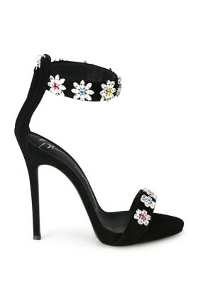 GIUSEPPE ZANOTTI Suedes Flower Crystal-Embroidered Suede Sandals