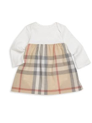 Image of Soft cotton-jersey dress with contrast check skirt. Envelope neckline. Long sleeves. Gathered empire waist. Flared skirt. Attached bloomers with bottom snaps. Pullover style. Cotton. Machine wash. Imported.