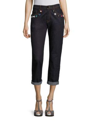 Stud-Detail Cropped Boyfriend Jeans