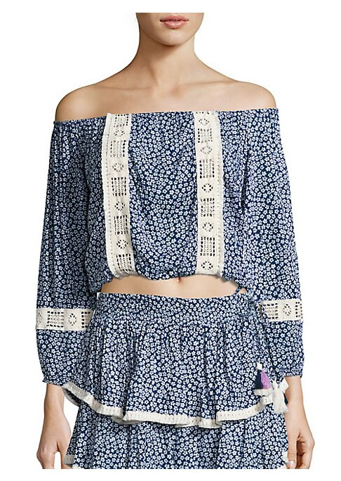 """Image of From the Wildflower collection. Floral crop top with contrast cutout appliques. Off-the-shoulder neck. Long sleeves. About 15"""" from shoulder to hem. Rayon. Imported."""