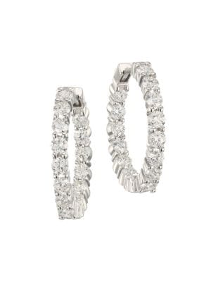 Roberto Coin 2 35 Tcw Diamond And 18k White Gold Inside Out Hoop Earrings