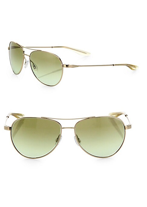 """Image of Classic aviator glasses in a gold-tone metal frame.56mm lens width; 14mm bridge length; 143"""" temple length.100% UV-protection. Metal. Imported."""