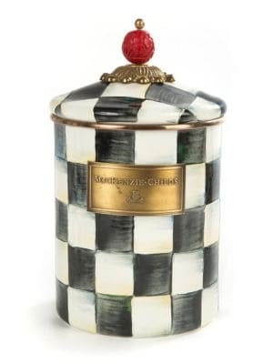 """Image of Traditional hand painted canister to bring out the Christmas spirit on this holiday season. It features classic courtly checked pattern with wooden carvings and brass plate with brand name engraved offering an appealing look.5""""W x 8.75""""H.Steel. Hand wash."""