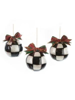 Mackenzie Childs Christmas Ornaments.Jester Fancy Ornaments Large Set Of 3