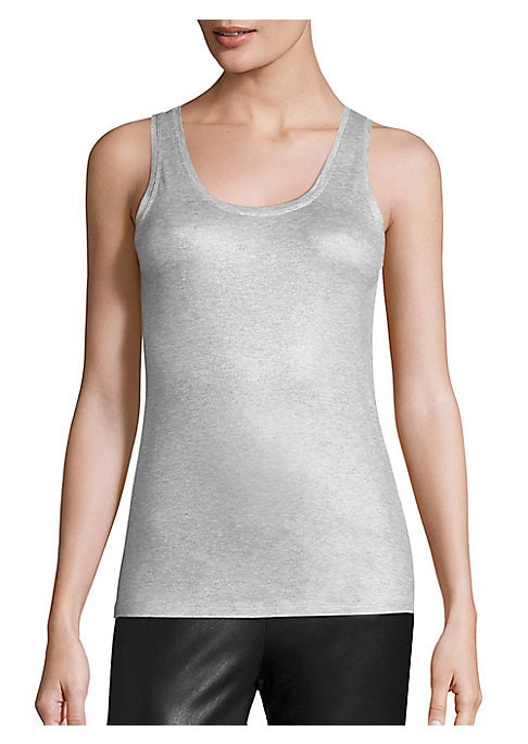 """Image of Classic tank top with subtle metallic sheen. Scoopneck. Sleeveless. Pullover style. About 24"""" from shoulder to hem. Viscose/elastane. Machine wash. Imported. Model shown is 5'10"""" (177cm) wearing size Small."""