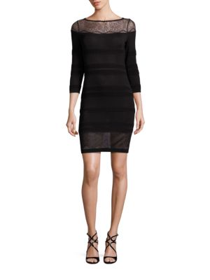 Lace-Inset Knit Dress
