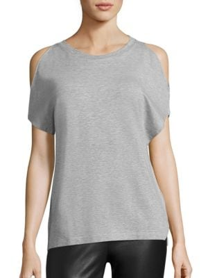 Soft Touch French Terry Cold-Shoulder Tee by Majestic Filatures