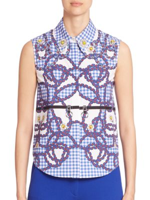 Hoyston Rope Embellished Stretch-Cotton Top by Mary Katrantzou