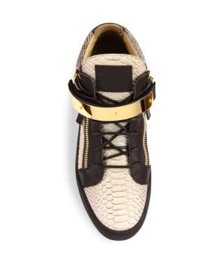 GIUSEPPE ZANOTTI Leathers Snake-Embossed Leather High-Top Sneakers