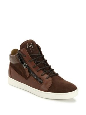 Giuseppe Zanotti Suede & Leather Terra Mid-Top Sneakers