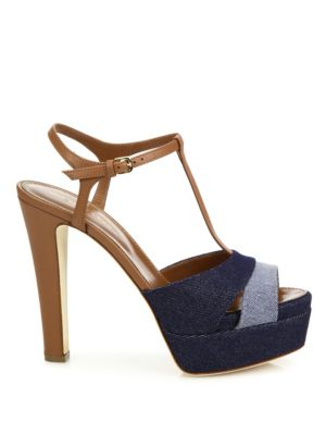 SERGIO ROSSI Leathers Edwige Denim & Leather Platform T-Strap Sandals