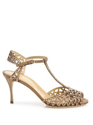 SERGIO ROSSI Crystals Tresor Crystal & Suede T-Strap Sandals