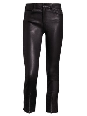 Zip Cropped Leather Leggings by Helmut Lang
