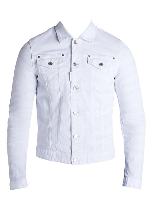 Image of Stylish jean shirt with perfect stitching accent. Spread collar. Front button closure. Chest flap pockets. Long sleeves with button closure. Cotton/elastane. Dry clean. Made in Italy.