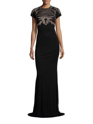 Metallice Lace Applique Gown by David Meister