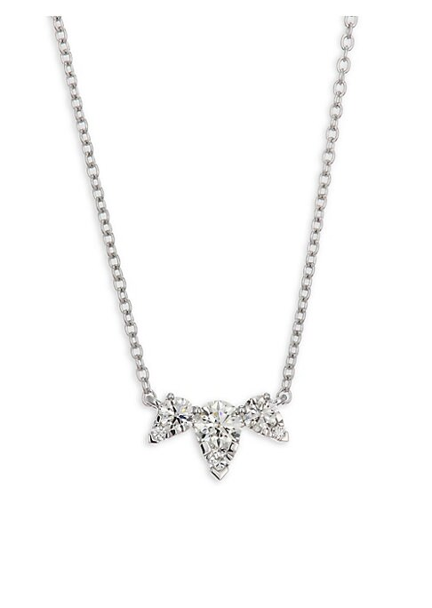 """Image of Pretty necklace with inverted crown-shaped diamond trio. Diamonds, 0.42 tcw. Diamond color: I-J.Diamond clarity: VS-SI.18K white gold. Length, 16"""".Lobster clasp. Made in USA."""