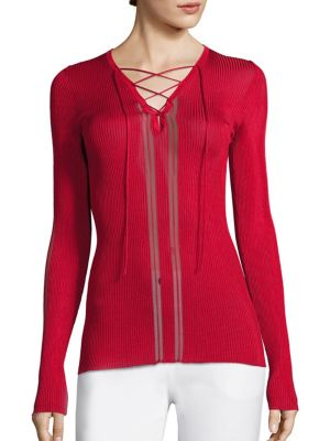 Rib-Knit Lace-Up Top by Roberto Cavalli