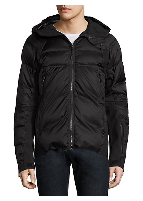 """Image of Lightweight jacket that features flexible fit with premium down insulation. Attached hood. Front two-way zip closure. Long sleeves with grip-tape cuffs. Left sleeve zippered pocket. Front zip pockets. About 28"""" from shoulder to hem. Nylon. Fill: Hutterite"""