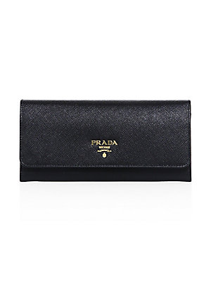 788083c4067b Prada - Saffiano Leather Continental Flap Wallet - saks.com