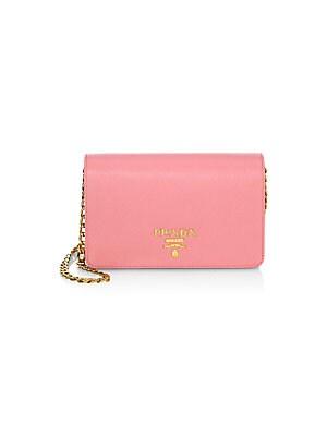 40d6c34ff67b Small Monocrome Leather Crossbody Bag.  1450.00. Prada - Metallic Saffiano  Leather Chain Wallet