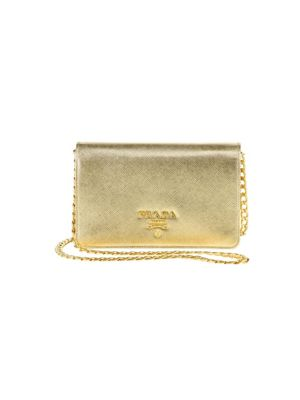 e567abf3bda2 new zealand prada metallic saffiano leather chain wallet in gold ba80f 2eef9