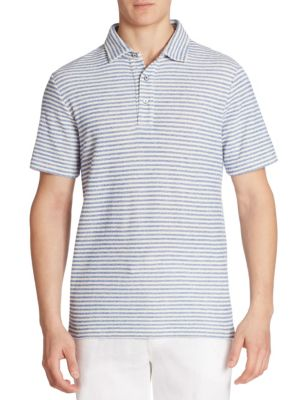 Image of EXCLUSIVELY OURS. Plush boucle-knit polo shirt with classic stripes. Polo collar. Three-button placket. Short sleeves. Side slits. Cotton/nylon. Dry clean. Imported.