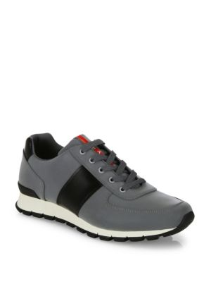 Reflective Leather & Nylon Running Sneakers by Prada
