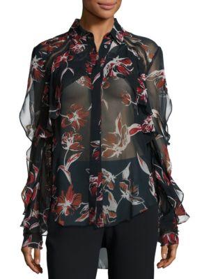 Silk Floral-Print Ruffle Shirt by NICHOLAS