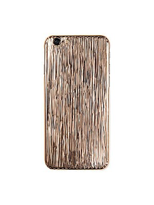 "Image of Arty stripe carvings highlight this goldplated case Fits iPhone 6/6S 18K white goldplated Metal alloy 3"" W X 5"" H Made in Italy. Men Accessories - Tech Accessories > Saks Fifth Avenue. La Mela. Color: Pink Gold."