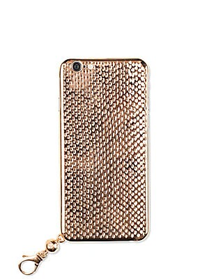"""Image of Lustrous goldplated phone case with exotic engravings Lobster clasp Removable wristlet strap Fits iPhone 6/6s 3"""" W X 5"""" H 18K rose goldplated Leather Made in Italy. Men Accessories - Tech Accessories > Saks Fifth Avenue. La Mela. Color: Pink Gold."""