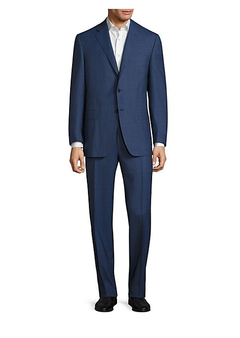 "Image of Classic suit designed with allover pencil stripes lends a fashionable look. Wool. Made in Italy. Jacket. Notched lapel. Front button closure. Long sleeves with buttoned cuffs. Chest welt pocket. Waist flap pocket. Back dual vents. About 29"" from shoulder"
