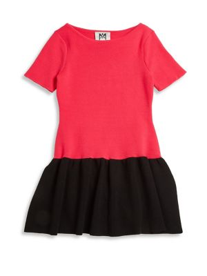 Girls Color Blocked Flounce Dress