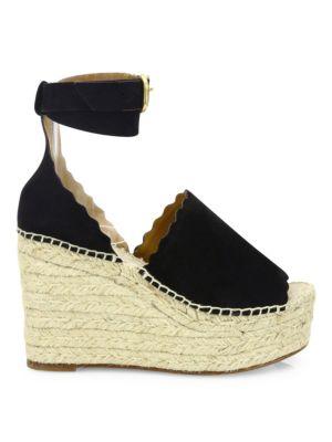 Lauren Suede Ankle-Strap Espadrille Wedge Sandals in Black