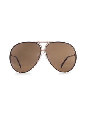 PORSCHE DESIGN P´8478 69Mm Interchangeable Aviator Sunglasses in Light Gold