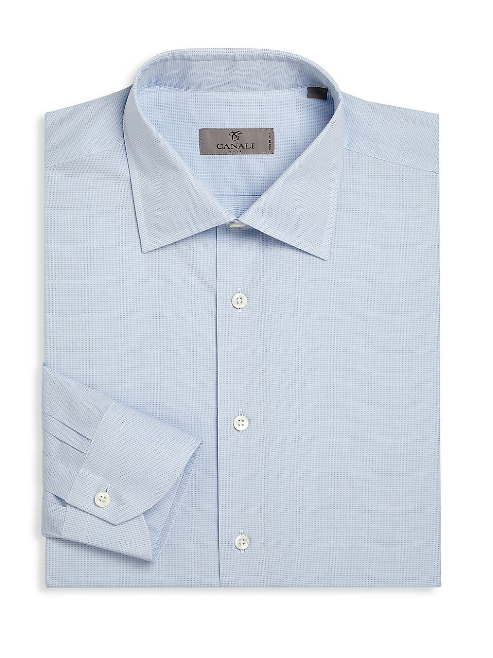 Canali Men's Regular-fit Micro Dotted Dress Shirt In Blue