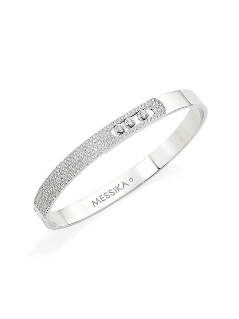Move Noa Medium 18K White Gold & Diamond Bangle