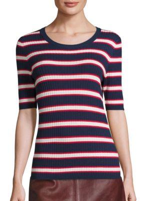 Striped Rib-Knit Top by SET