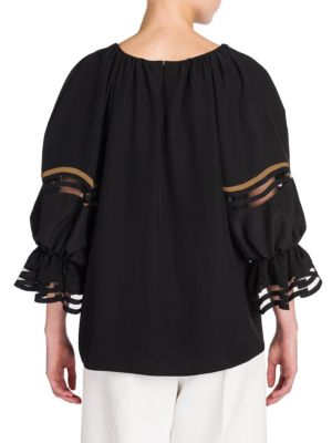 FENDI Silks Ruffle-Detail Silk Crepe de Chine Blouse