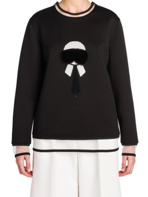 Karl Fur-Embroidered Sweatshirt by Fendi