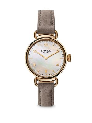 Canfield Mother-Of-Pearl, Goldtone Stainless Steel & Leather Strap Watch, Grey