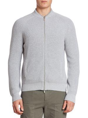 Image of Plush cardigan enhanced with all-over ribbed detailing. Baseball collar. Front full zip closure. Long raglan sleeves. Slash pocket. Cotton. Hand wash. Made in Italy.