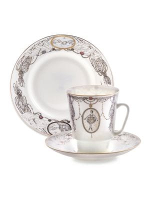 Imperial Porcelain 3 Piece Swan Lake Ballet Teacup Saucer And Dessert Plate Set