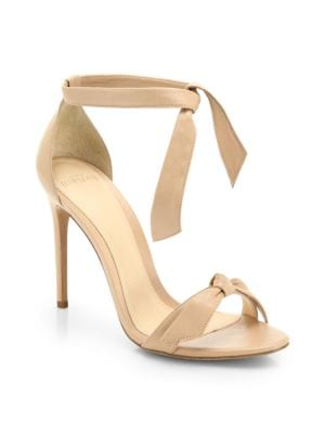 Clarita Leather Ankle-Tie Sandals, Nude Soft Leather