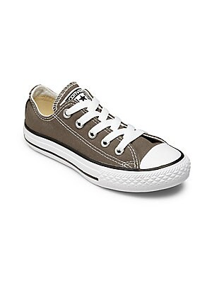 Image of Classically cool low-top sneaker cast in casual canvas Canvas upper Round toe Lace-up vamp Cotton-canvas lining Rubber sole Imported. Children's Wear - Children's Shoes > Saks Fifth Avenue. Converse. Color: Charcoal. Size: 11 (Child).