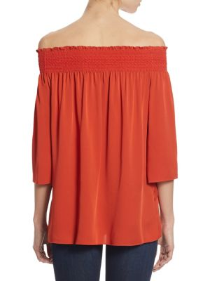 THEORY Silks Elistaire Off-the-Shoulder Top