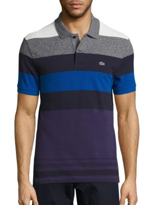 """Image of Smart pique polo with wide color blocked stripes. Polo collar. Two-button placket. Short sleeves with ribbed armbands. Signature embroidered croc applique on left chest. Split hem. About 29"""" from shoulder to hem. Cotton/elastane. Machine wash. Imported."""