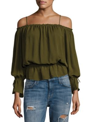 Gathered Silk Cold-Shoulder Top by Love Sam
